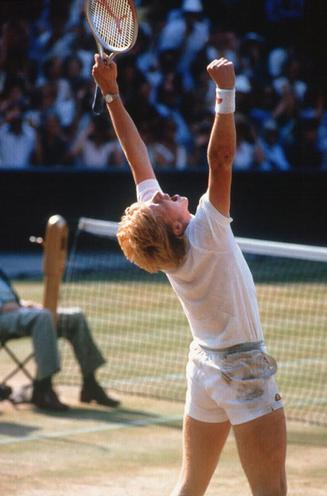 Personalities | Photo Biographies - Regina Schmeken | Boris Becker wins at Wimbledon, 1985 | 00023411