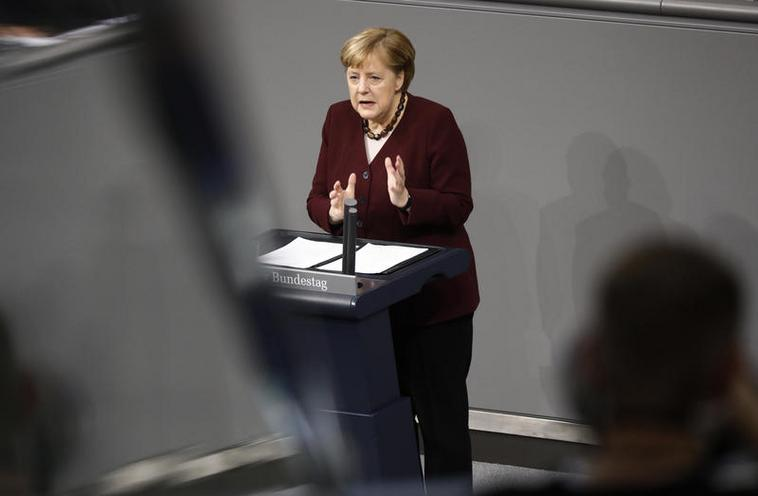 Current Events | Government statement by Angela Merkel on the management of the COVID-19 pandemic, 2020 - by Metodi Popow 02972484