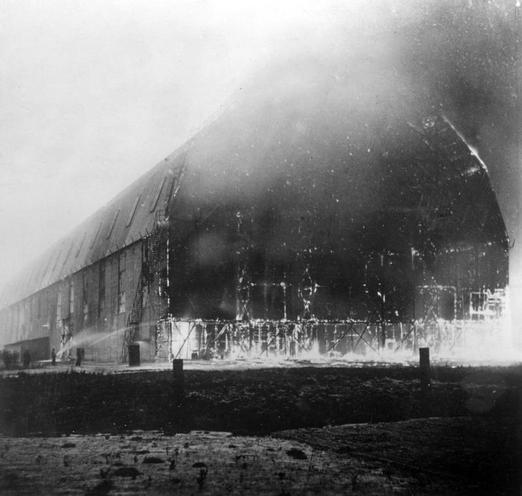 Contemporary | Outbreak of war in the Ottoman Empire, 1914 | Burning airship hangar, 1915 | 00472750