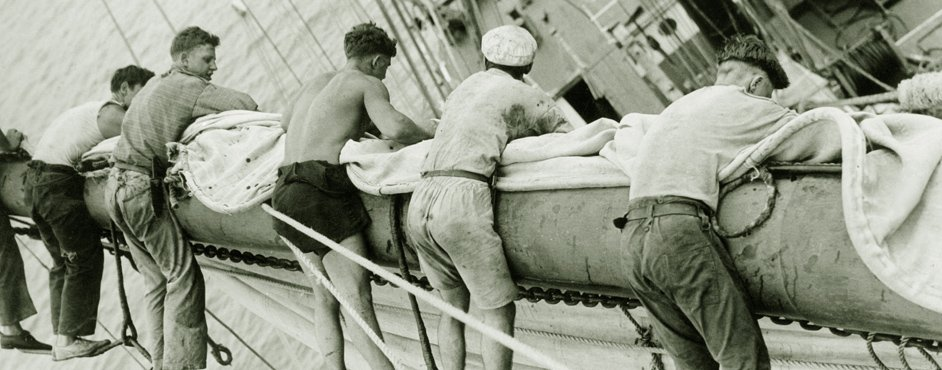 Sailors in the rigging of a schooner, 1930