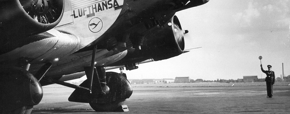 Start of a Junkers Ju 52 on the Berlin Tempelhof Airport, 1937