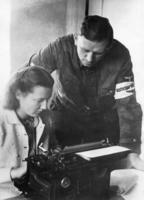 Member of the National Militia with a typist in East Prussia, 1944 Scherl/Süddeutsche Zeitung Photo